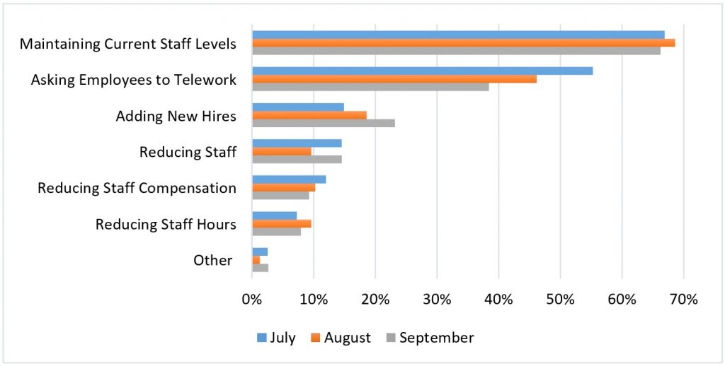 What adjustments to staffing does your firm anticipate making over the next three months?